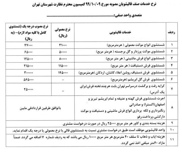 قیمت قالیشویی تهران