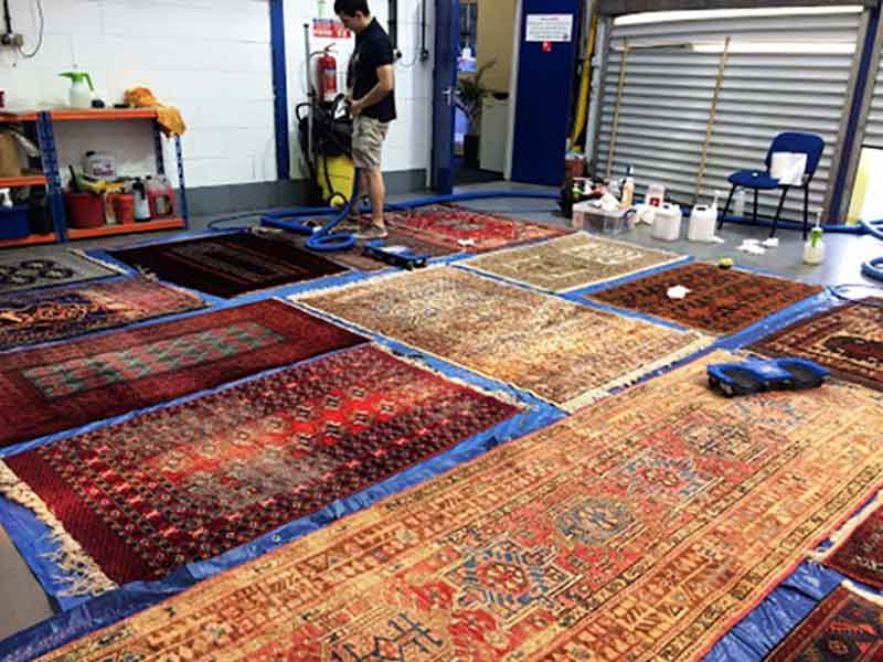 خدمات متنوع شستوشو، رفو و ترمیم فرش در قالیشویی کارگر